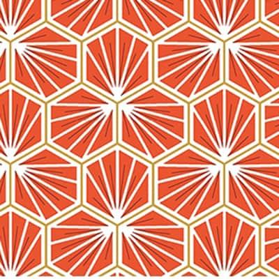 Tissu coton imprimé trèfle orange