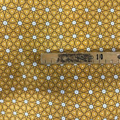 Tissu coton imprimé géométrique jaune mètre