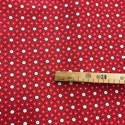 Tissu coton imprimé géométrique rouge mètre