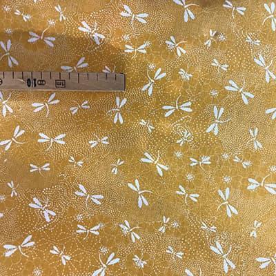 Tissu coton imprimé libellule jaune
