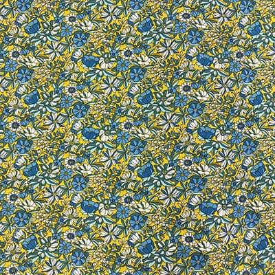 Tissu coton imprimé mini fleurs jaune