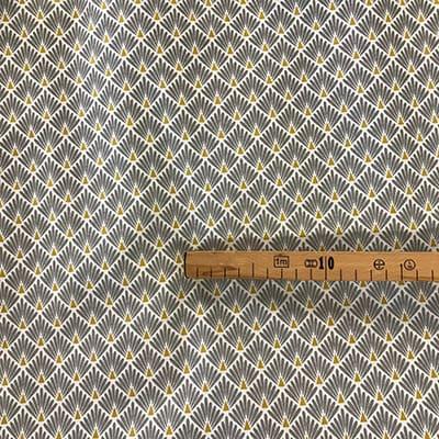 Tissu coton imprimé écaille gris mètre