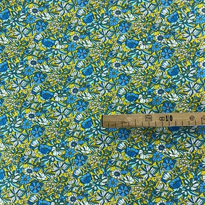 Tissu coton imprimé mini fleurs jaune mètre