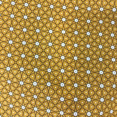 Tissu coton imprimé géométrique jaune