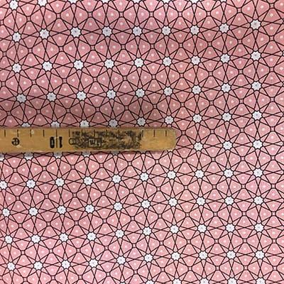 Tissu coton imprimé géométrique rose mètre