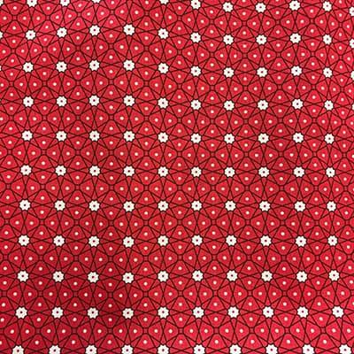 Tissu coton imprimé géométrique rouge