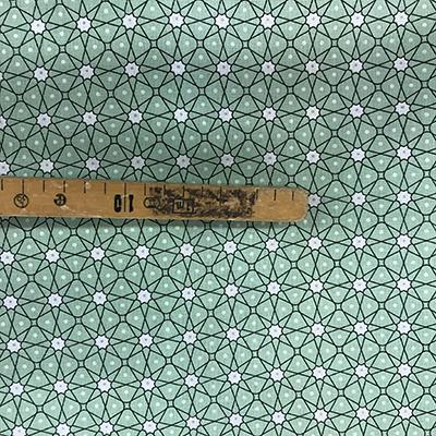 Tissu coton imprimé géométrique vert mètre