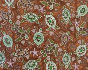 Tissu coton imprimé tortue marron