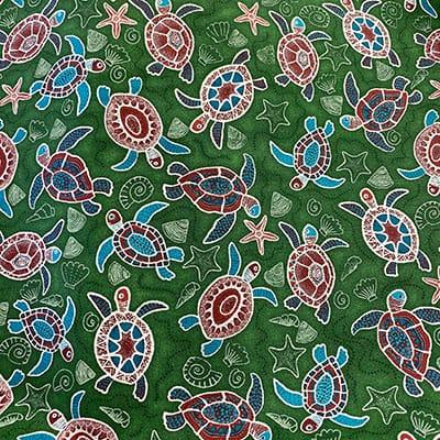 Tissu coton imprimé tortue verte
