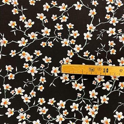 Tissu coton imprimé amandier noir mètre