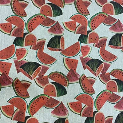 Tissu aspect lin pastèque