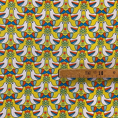 Tissu coton imprimé oisillons moutarde mètre