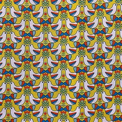 Tissu coton imprimé oisillons moutarde