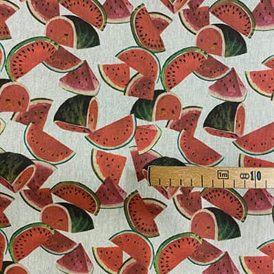 Tissu aspect lin pastèque mètre