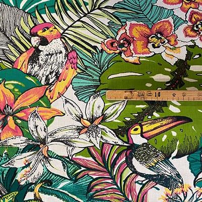 Tissu coton imprimé jungle perroquet mètre