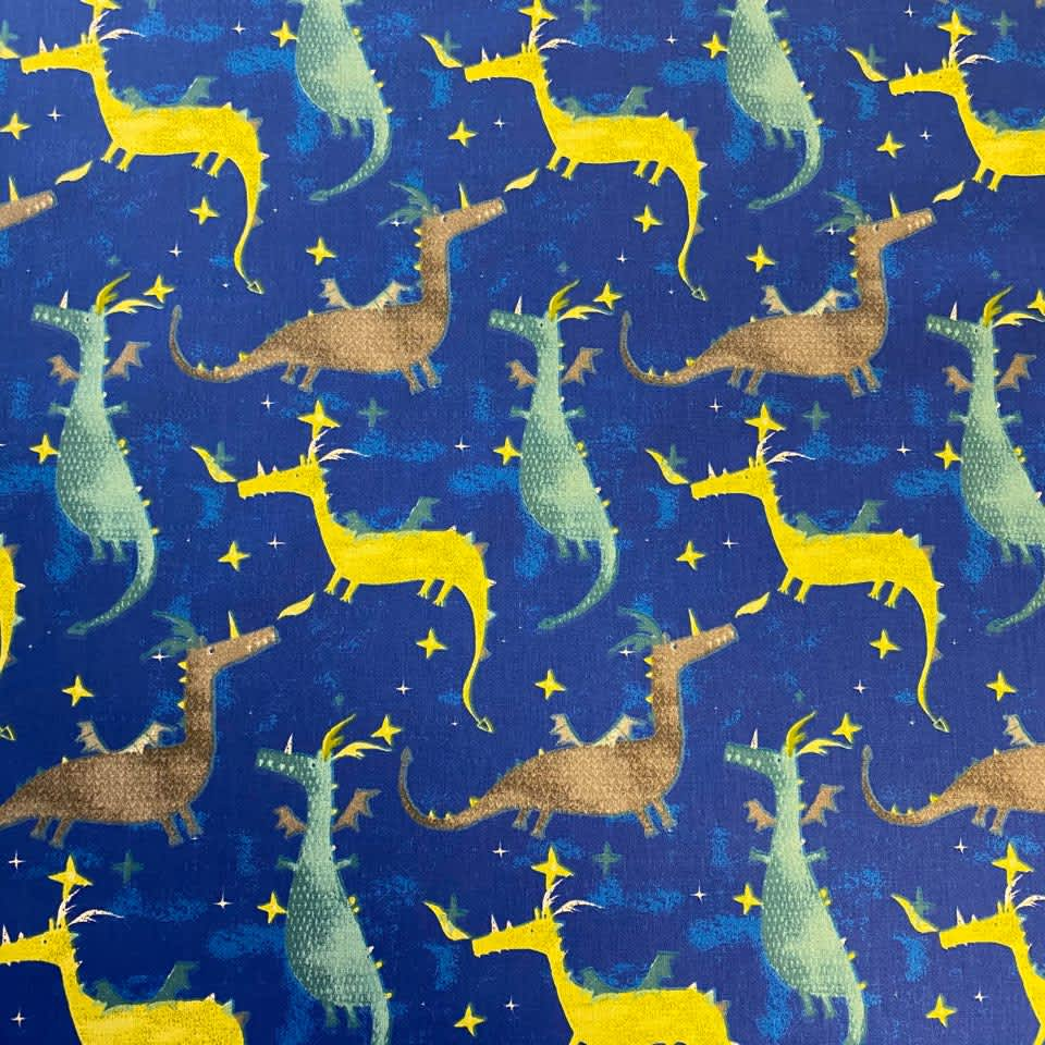Tissu coton imprimé dragon