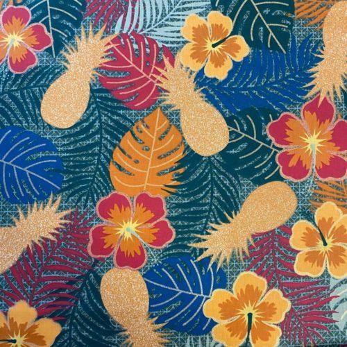 Tissu coton imprimé maltaya bleu