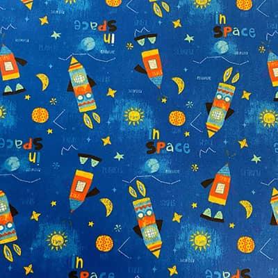 Tissu coton imprimé espace