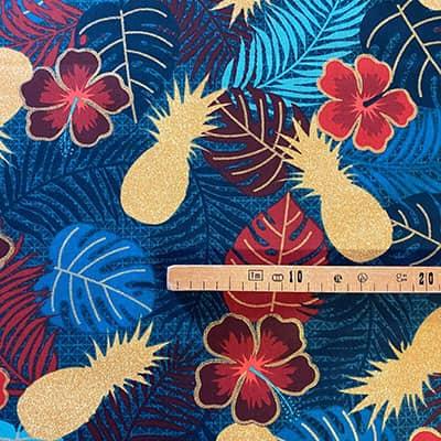 Tissu coton imprimé maltaya navy mètre