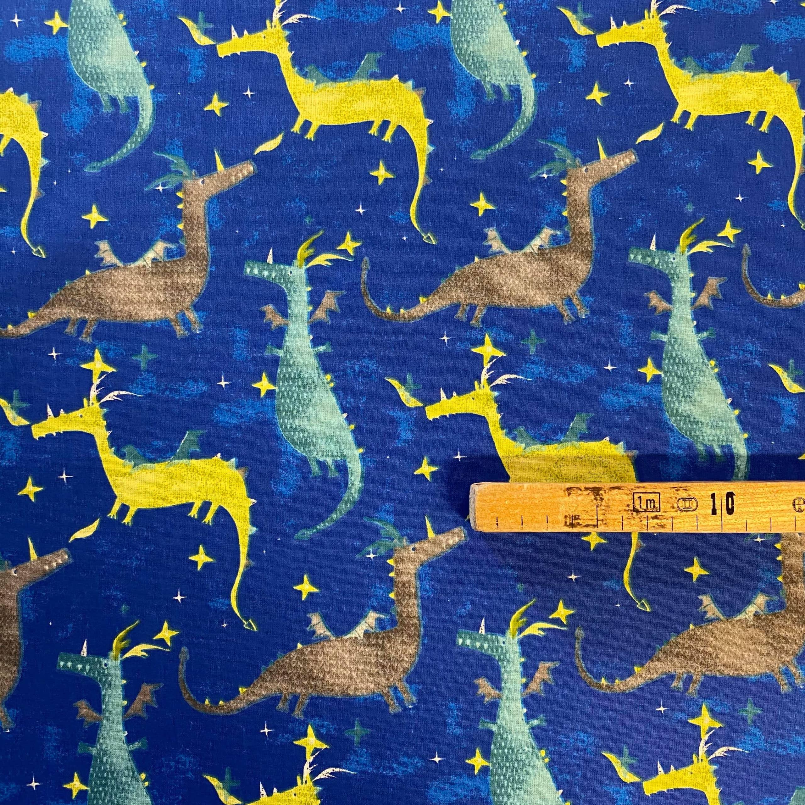 Tissu coton imprimé dragon mètre