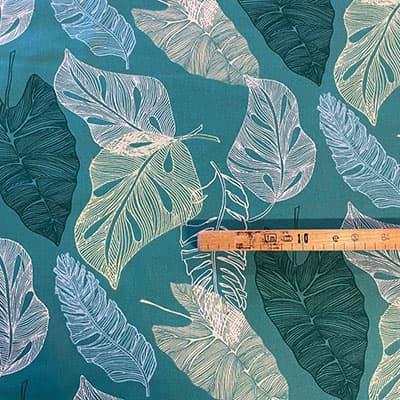 Tissu coton imprimé feuille verte mètre