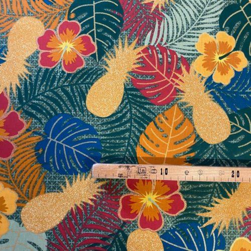 Tissu coton imprimé maltaya bleu mètre