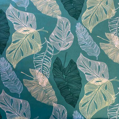 Tissu coton imprimé feuille verte