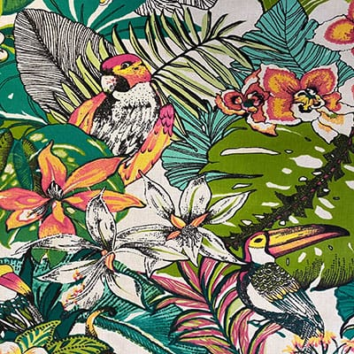 Tissu coton imprimé jungle perroquet