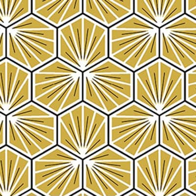Tissu coton imprimé trèfle or