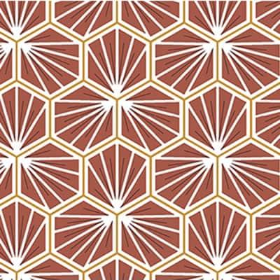 Tissu coton imprimé trèfle bordeaux