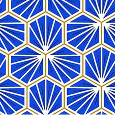 Tissu coton imprimé trèfle bleu
