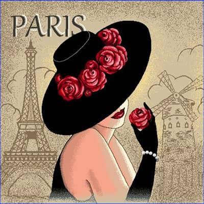 Carré de tissu dame Paris