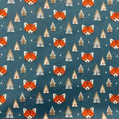 Tissu coton imprimé tête renard roux
