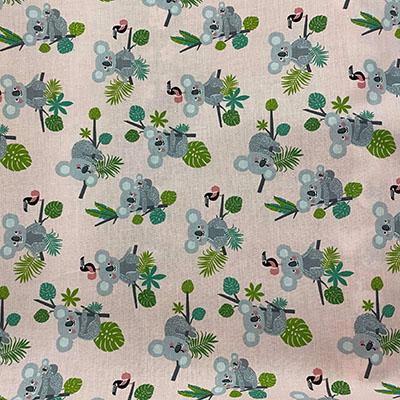 Tissu coton imprimé koala rose