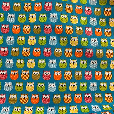 Hiboux Bleus Coton Imprimé