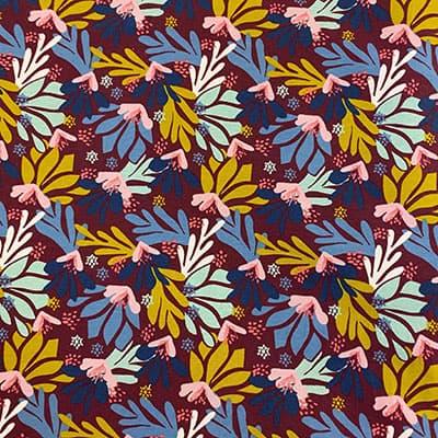 Tissu jersey imprimé flore bordeaux