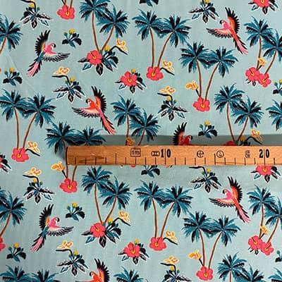 Tissu jersey imprimé perroquet mètre