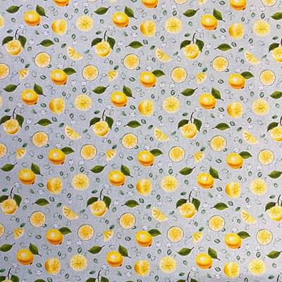 Tissu coton imprimé citron
