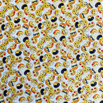 Tissu coton imprimé smiley