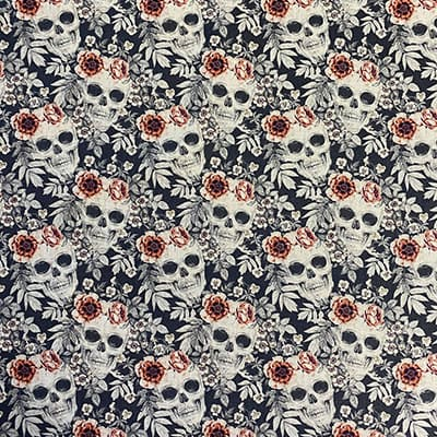 Tissu coton imprimé crâne blanc