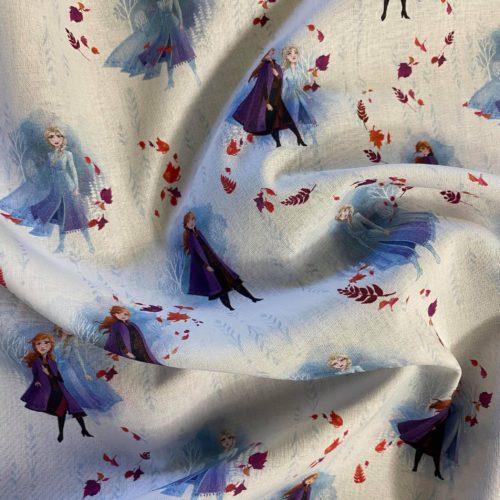 Tissu Disney Reine des Neiges Bleu plie