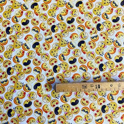 Tissu coton imprimé smiley mètre