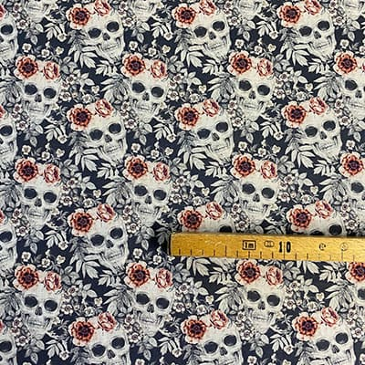 Tissu coton imprimé crâne blanc mètre