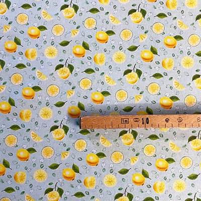 Tissu coton imprimé citron mètre