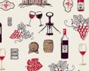 Tissu coton imprimé vin
