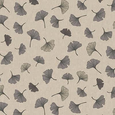 Tissu aspect lin ginkgo gris