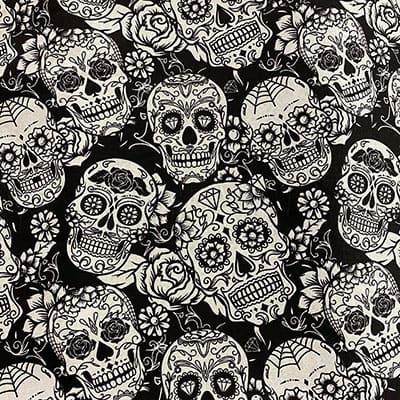 Tissu coton imprimé tête de mort noir