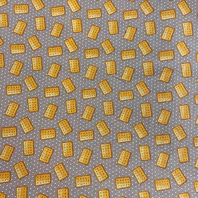 Tissu coton imprimé biscuit