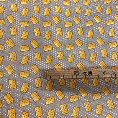 Tissu coton imprimé biscuit mètre