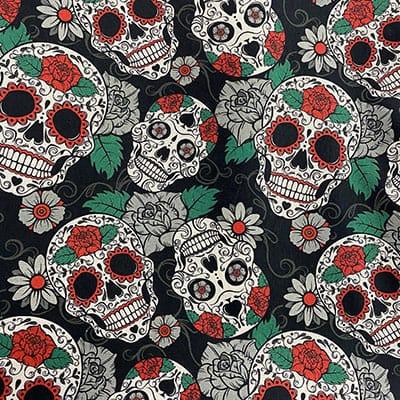 Tissu coton imprimé tête de mort coloré